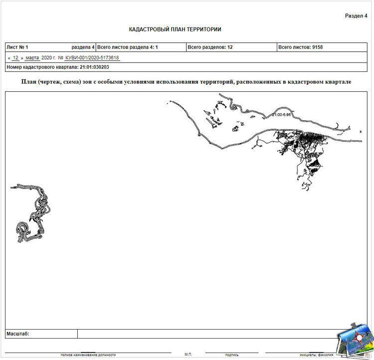 План (чертеж, схема) зон с особыми условиями использования территорий, расположенных в кадастровом квартале