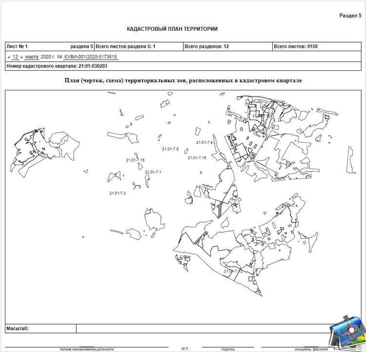 План (чертеж, схема) территориальных зон, расположенных в кадастровом квартале