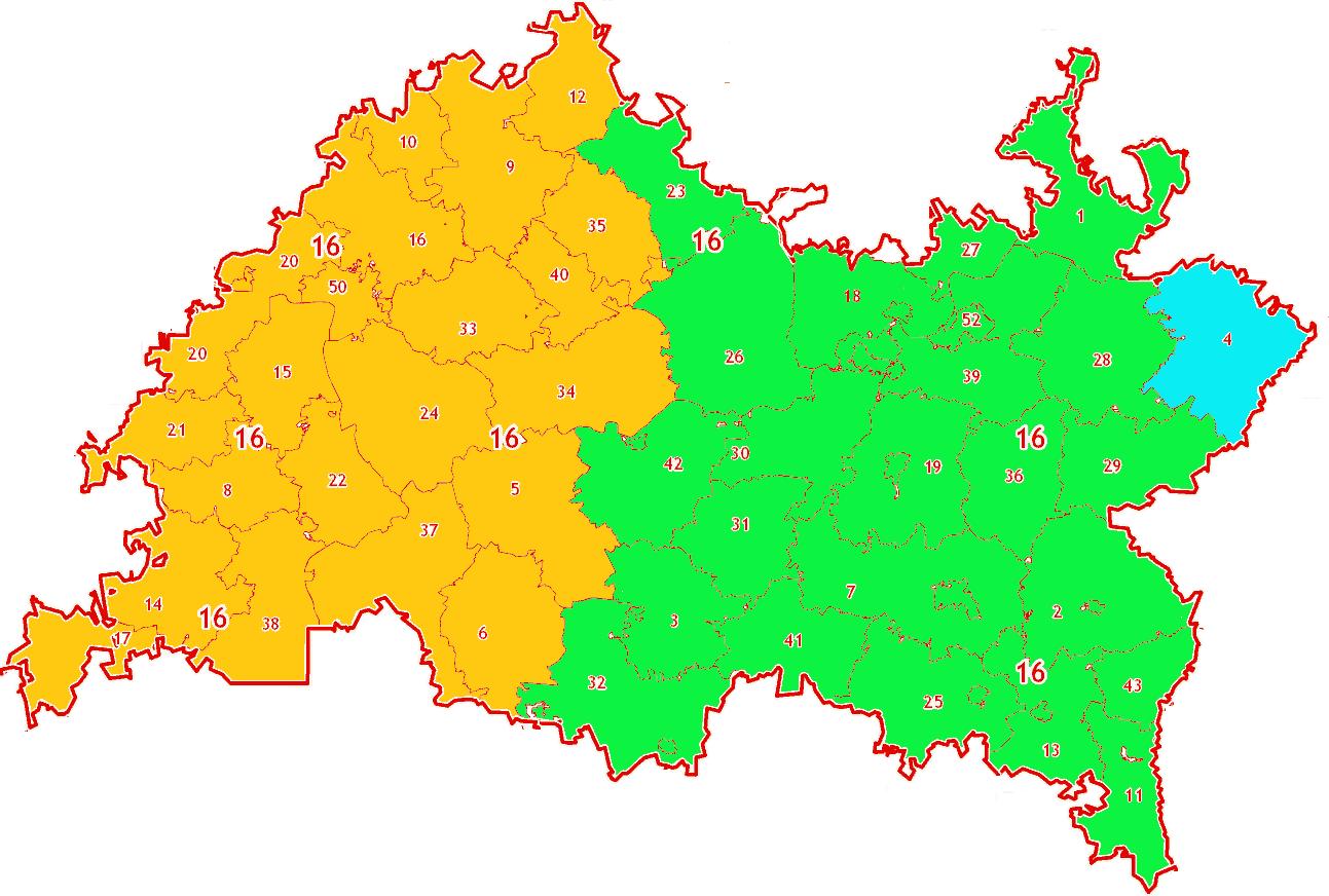 Зоны МСК-16 на территории Республики Татарстан