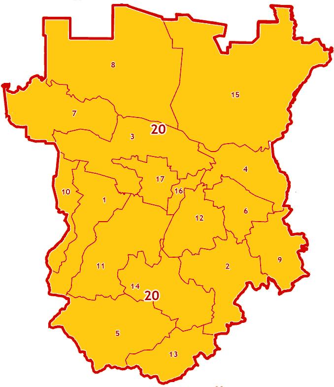 Зоны МСК-20 на территории Чеченской Республики