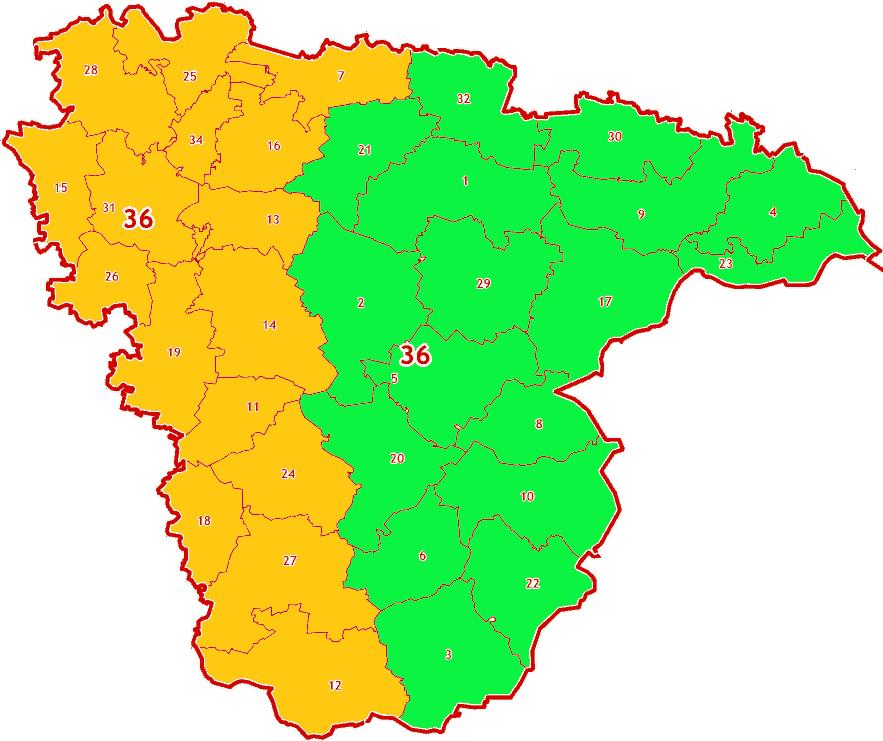 Зоны МСК-36 на территории Воронежской области