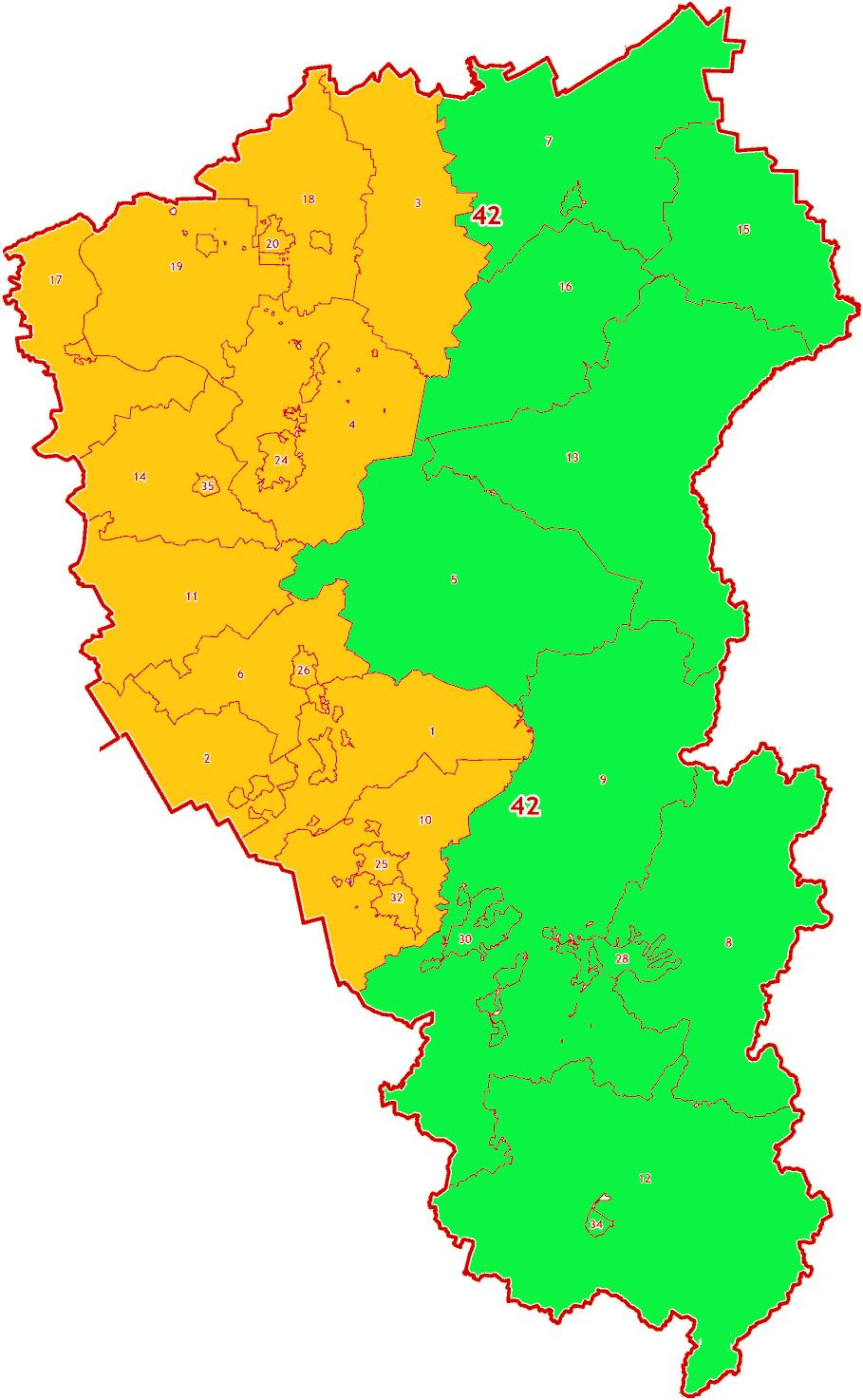 Зоны МСК-42 на территорию Кемеровской области