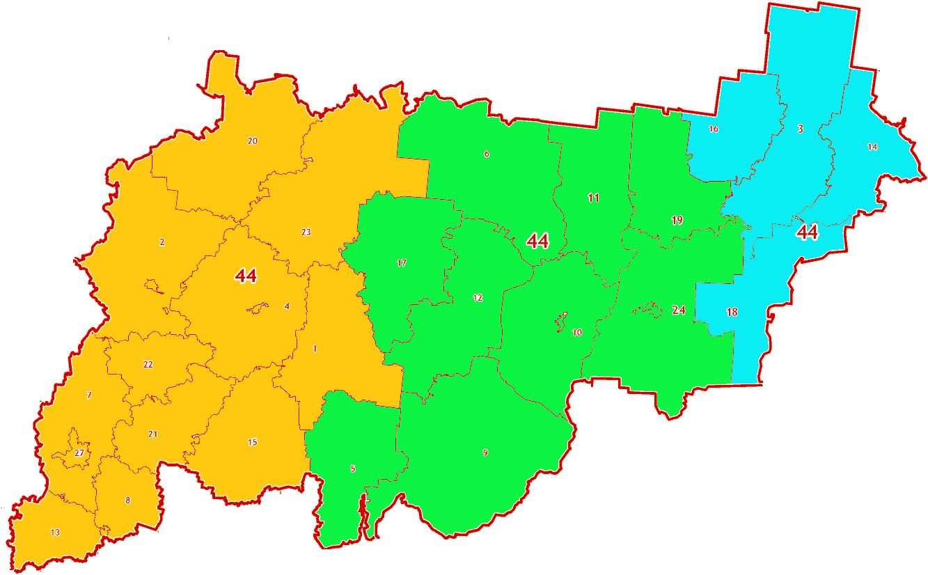 Зоны МСК-44 на территорию Костромской области