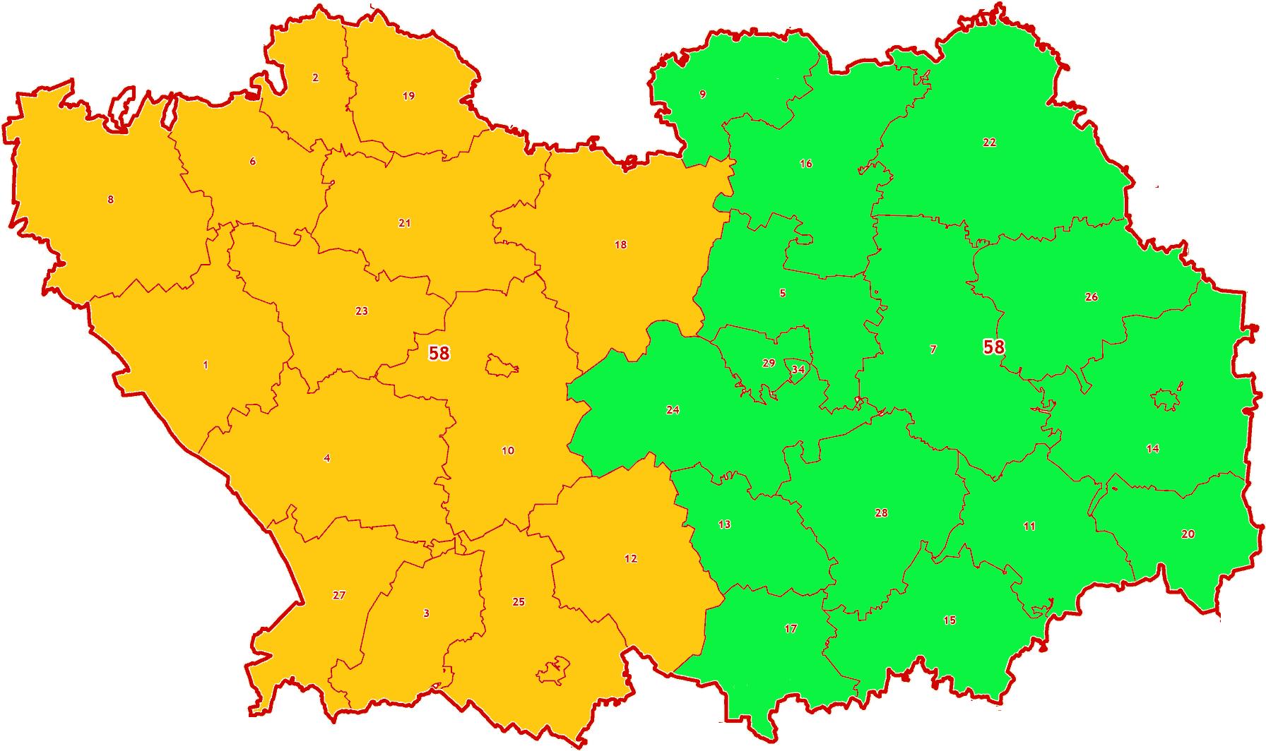 Зоны МСК-58 на территорию Пензенской области