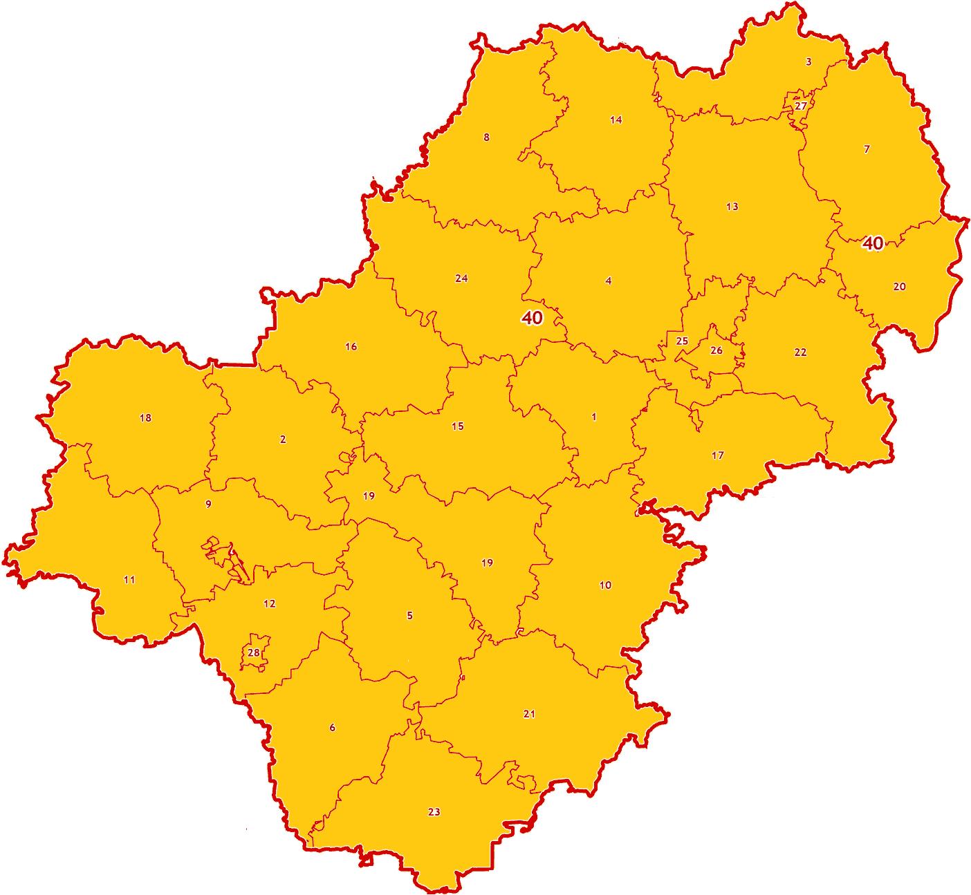 Зоны МСК-40 на территорию Калужской области