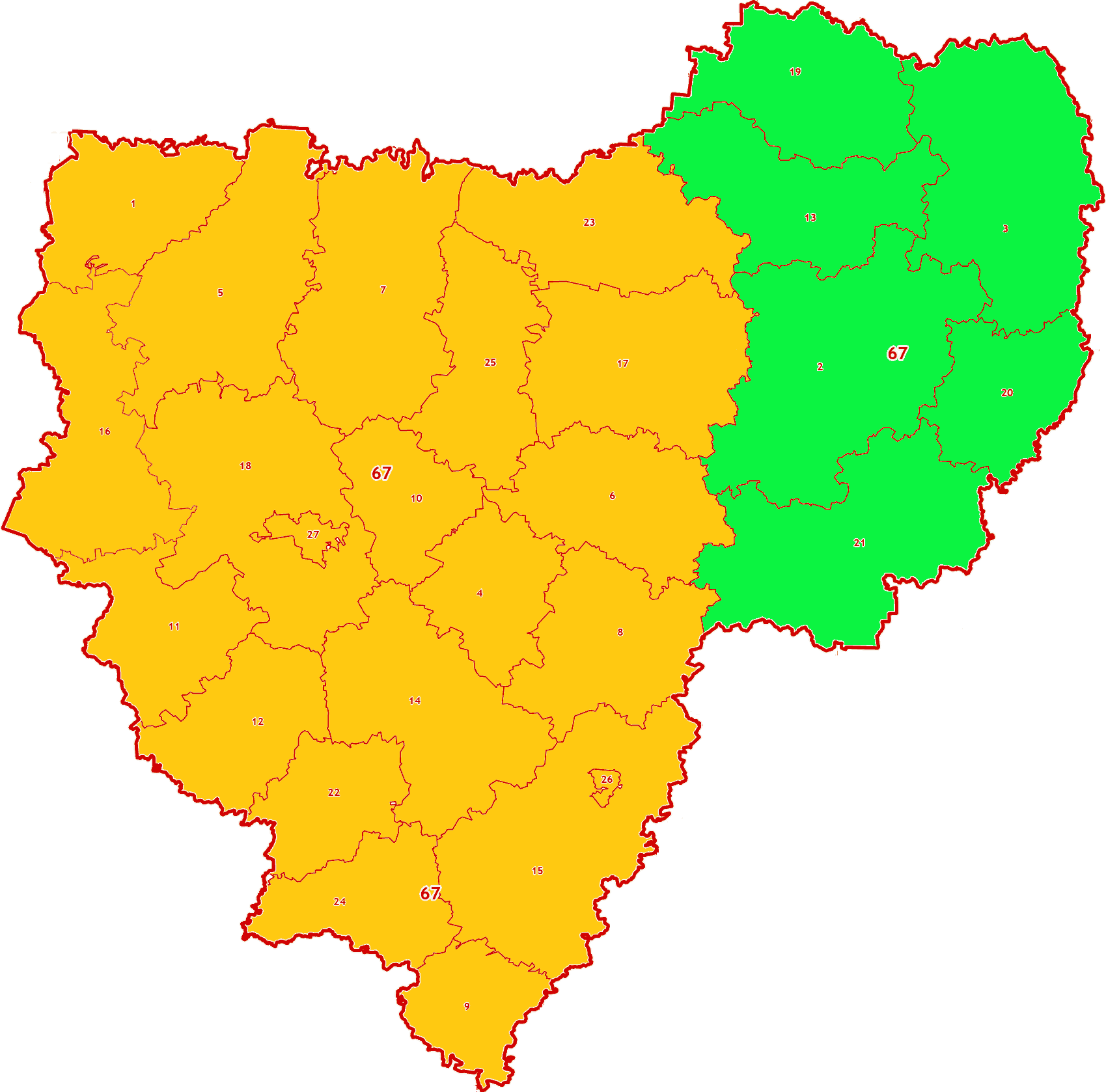 Зоны МСК-67 на территорию Смоленской области