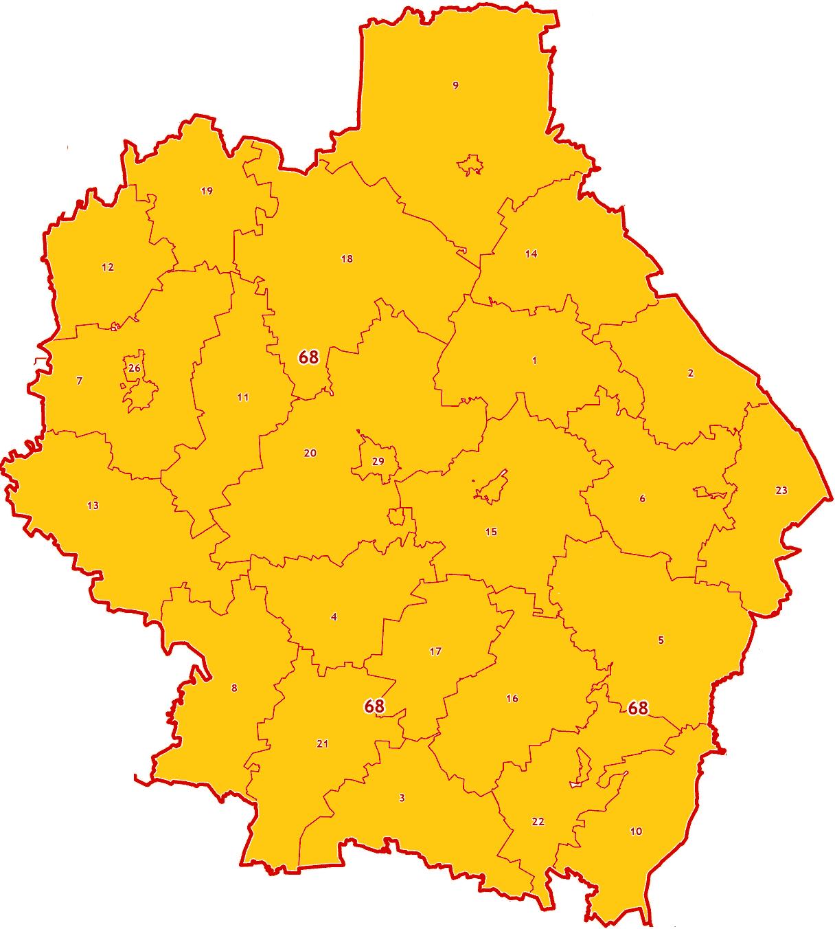 Зоны МСК-68 на территорию Тамбовской области