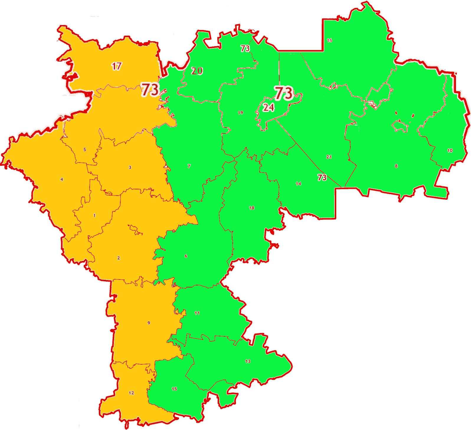 Зоны МСК-73 на территорию Ульяновской области