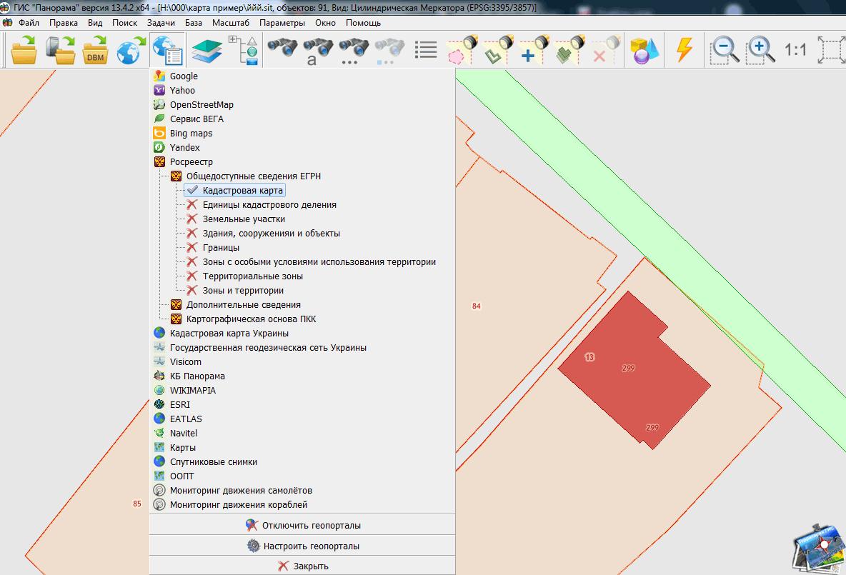Сопоставление векторной карты в МСК и данных публичной кадастровой карты